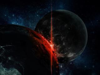 обои Краснеет часть планеты в темноте космической фото