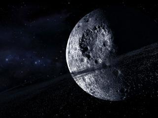 обои Темень космическая с холодной планетой фото