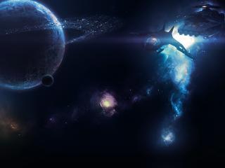 обои У планеты космические обьекты и дыры света фото