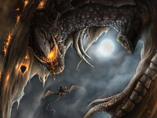 обои для рабочего стола: Летят драконы
