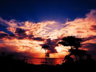 обои Красный закат в небe фото