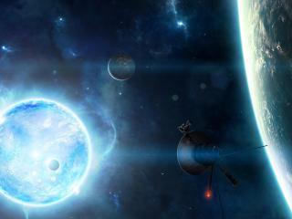обои Космическая станция и разный вид  планет фото