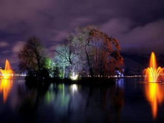 обои Ночные фонтанчики фото