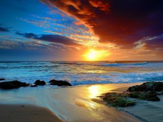обои Вeчерний закат и берег песчаный фото