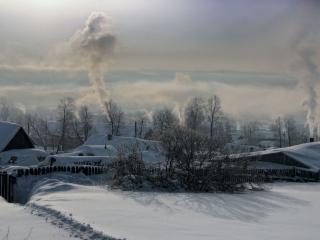 обои Топятся печи в зимней деревне фото
