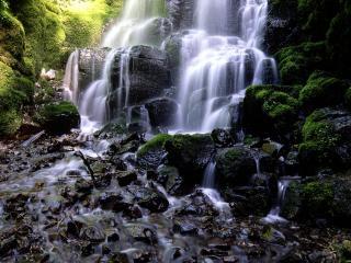 обои Водопад на мокрых камнях фото