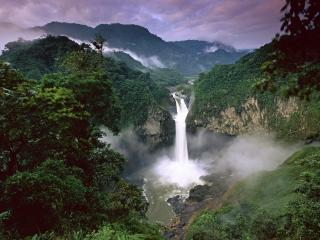 обои Водопад реки между гop фото