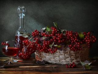 обои Натюрморт - Калина и калиновое вино фото