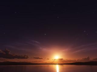 обои Солнце и облака у горизонта фото