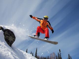 обои Полёт с камня на сноуборде фото