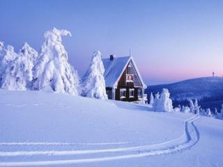 обои Горы,   снег и домик фото