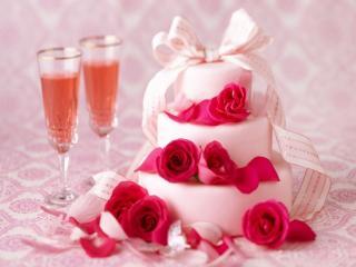 обои Торт,   розы и вино фото