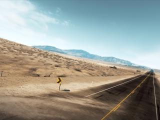 обои для рабочего стола: Дорога в пустынной местности