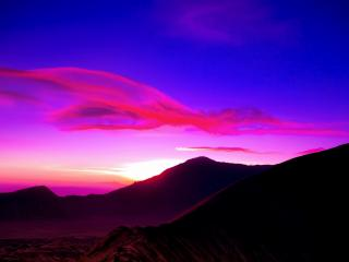 обои Пурпурное небо от заходящего солнца фото
