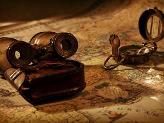 обои для рабочего стола: Снаряжение путешественника на карте