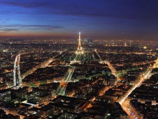 обои Ночной сверкающий Париж фото