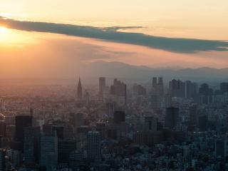 обои Панорама мегаполиса при закате солнечном фото