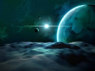 обои Яркий свет в космосе у разноструктурных планет фото
