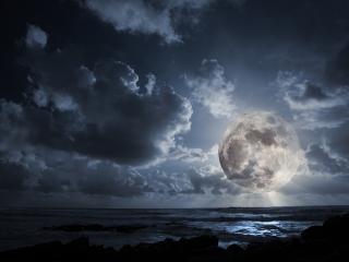 обои Закат огромной луны фото