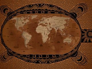 обои для рабочего стола: Карта старого мира в виде черепахи