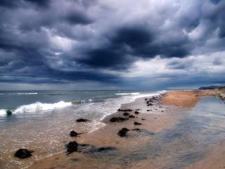 обои Свинцовое небо над морем фото