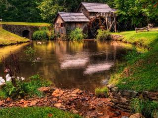 обои Водяное колесо и постройки фото