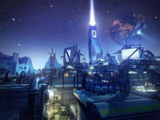 обои Рисунок завода под звездным небом фото