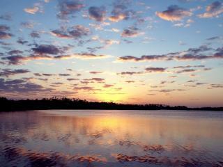 обои Закат над большим озером фото