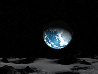 обои Темный космос и частично осветленная планета фото