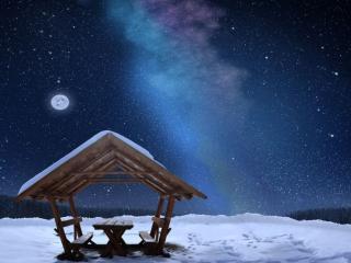 обои Беседка,   млечный путь и луна фото