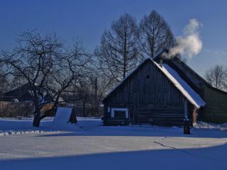 обои для рабочего стола: Зимний день в деревне