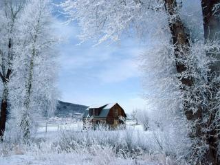 обои Маленькая дачка среди зимы фото