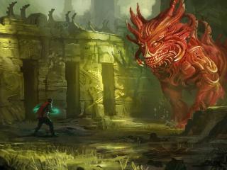 обои Шагая к красному  дракону фото