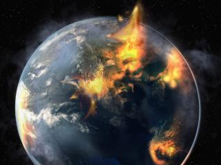 обои Огненные вспышки над планетою фото
