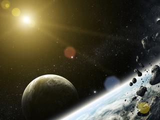 обои Метеориты направляются к планете фото
