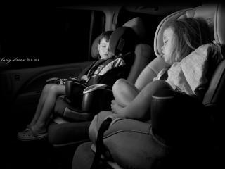 обои Спящие крохи в машине фото