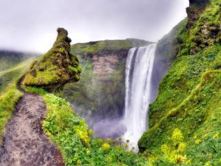 обои Впадина с водопадом фото