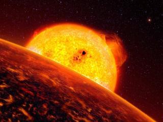 обои Планета и раскаленное солнце фото