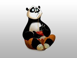 обои Панда из мульта ест лапшу фото