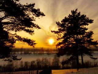 обои Зимний закат на берегу фото