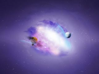обои Планеты в космическом тумане фото