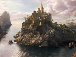обои Величественный замок на неприступном острове фото