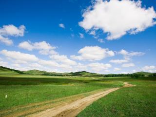 обои Зеленая лужайка и белые облака фото