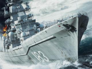обои Горит военный корабль фото