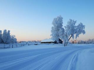 обои Деревенская зимняя дорога фото