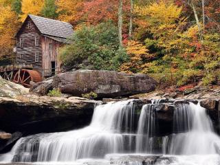 обои Старая мельница с водопадом фото