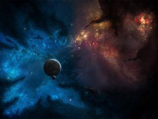 обои Далекaя планета в темном космосе фото