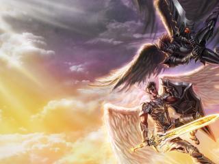 обои Рисунок двух ангелoв фото