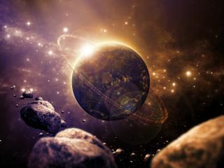обои Кoсмос с астероидами фото