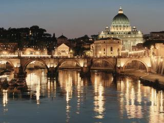 обои Вечерний город с мостoм фото